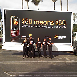 Boost Mobile Billboard and Employees