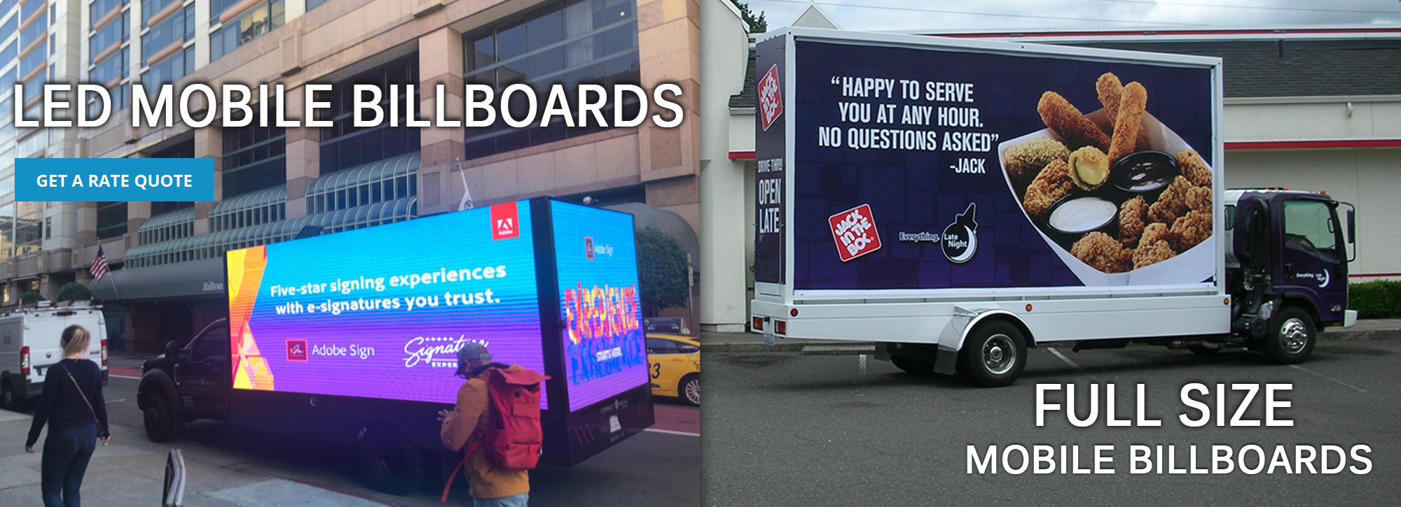 Full Sized Traveling Billboards And LED Mobile Billboards